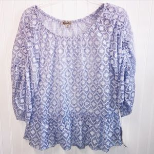 Democracy Blue & White Flowing top